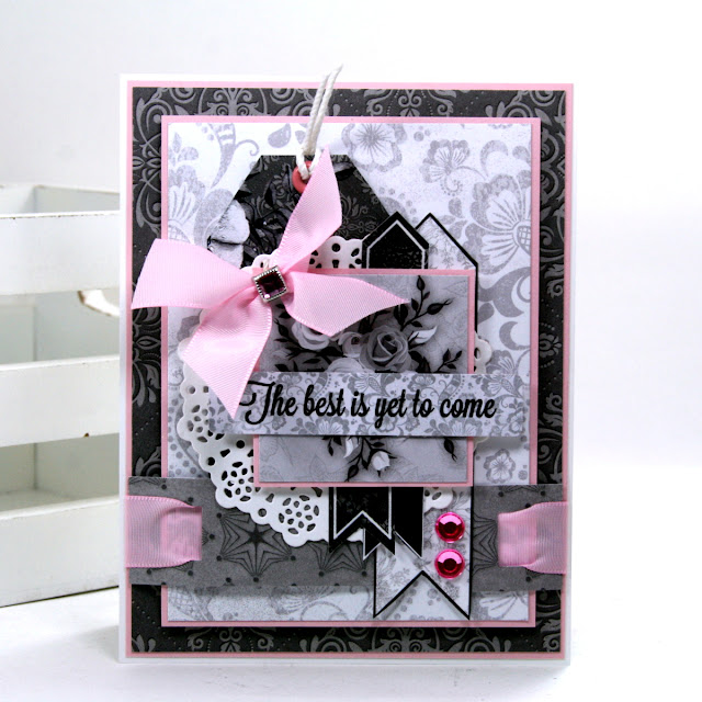Shabby Chic Card 2  By Ginny Nemchak for BoBunny using Black Tie Affair and Mini Alphabet Punch Board