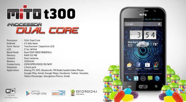 Mito T300,Ponsel,Android,Mito