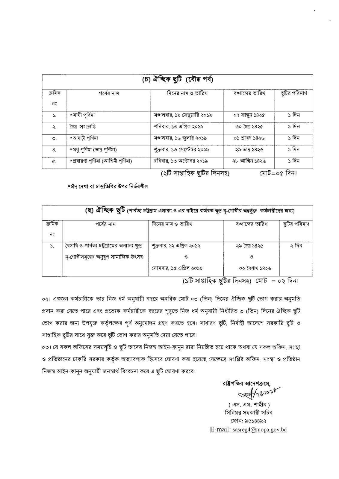 Bangladesh Government Holidays List 2019