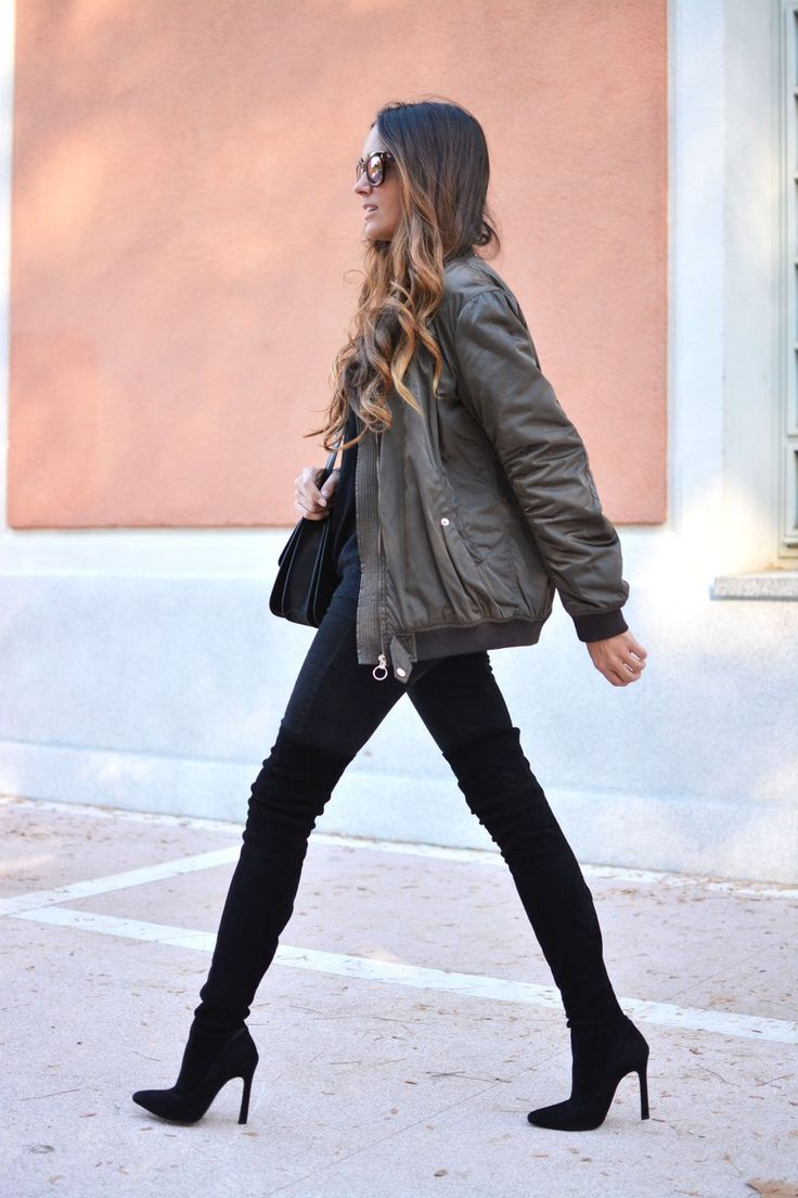 Stella Wants to Die - Bomber Jacket + Over the Knee Boots: Black and Khaki