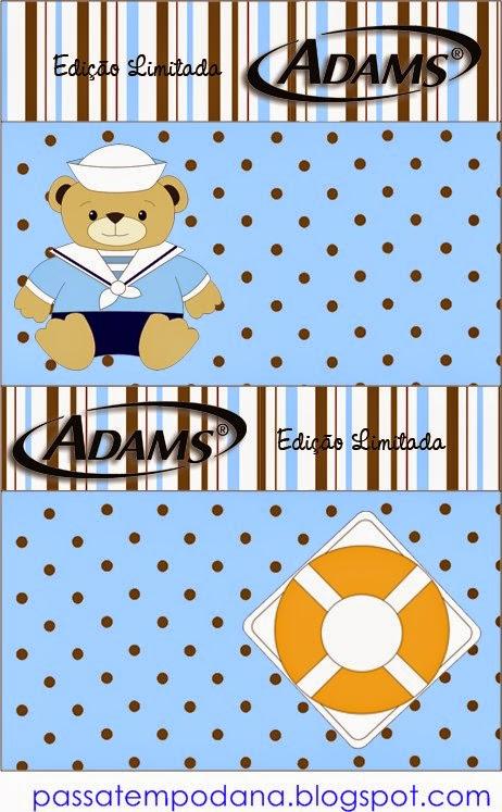 Etiquetas de Chicle Adams de Lindo Osito Marinero para imprimir gratis.