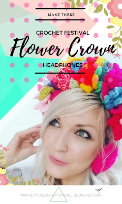 free crochet pattern flower crown headphones earphones hippie fashion boho