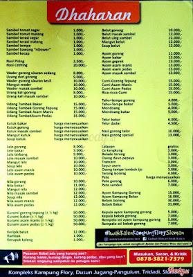 Harga dan Daftar Menu Kampung Flory Sleman Yogyakarta