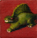 Very small oil painting of a green plastic dinosaur.