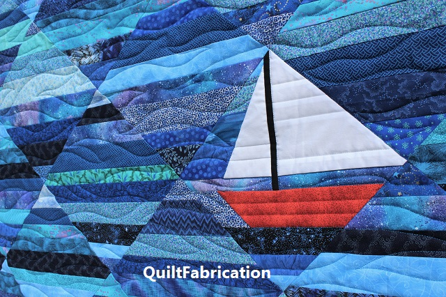 sailboat on the Seafarer quilt by QuiltFabrication