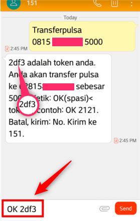 cara transfer pulsa im3 via sms