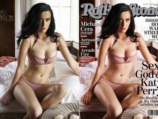hasil photosop Katy Perry untuk Rolling Stone