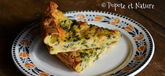 Clafoutis salé aux bettes, chou kale, courgette, cheddar et lardons © Popote et Nature