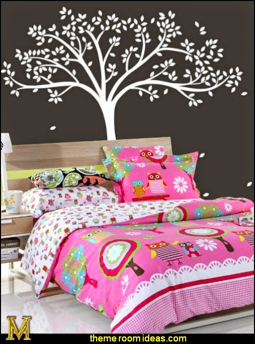 Owl Bedding,Cute Owl Bedding Set-Fall Tree Wall Decal - Monochromatic Tree Decal-DIAIDI Home Textile
