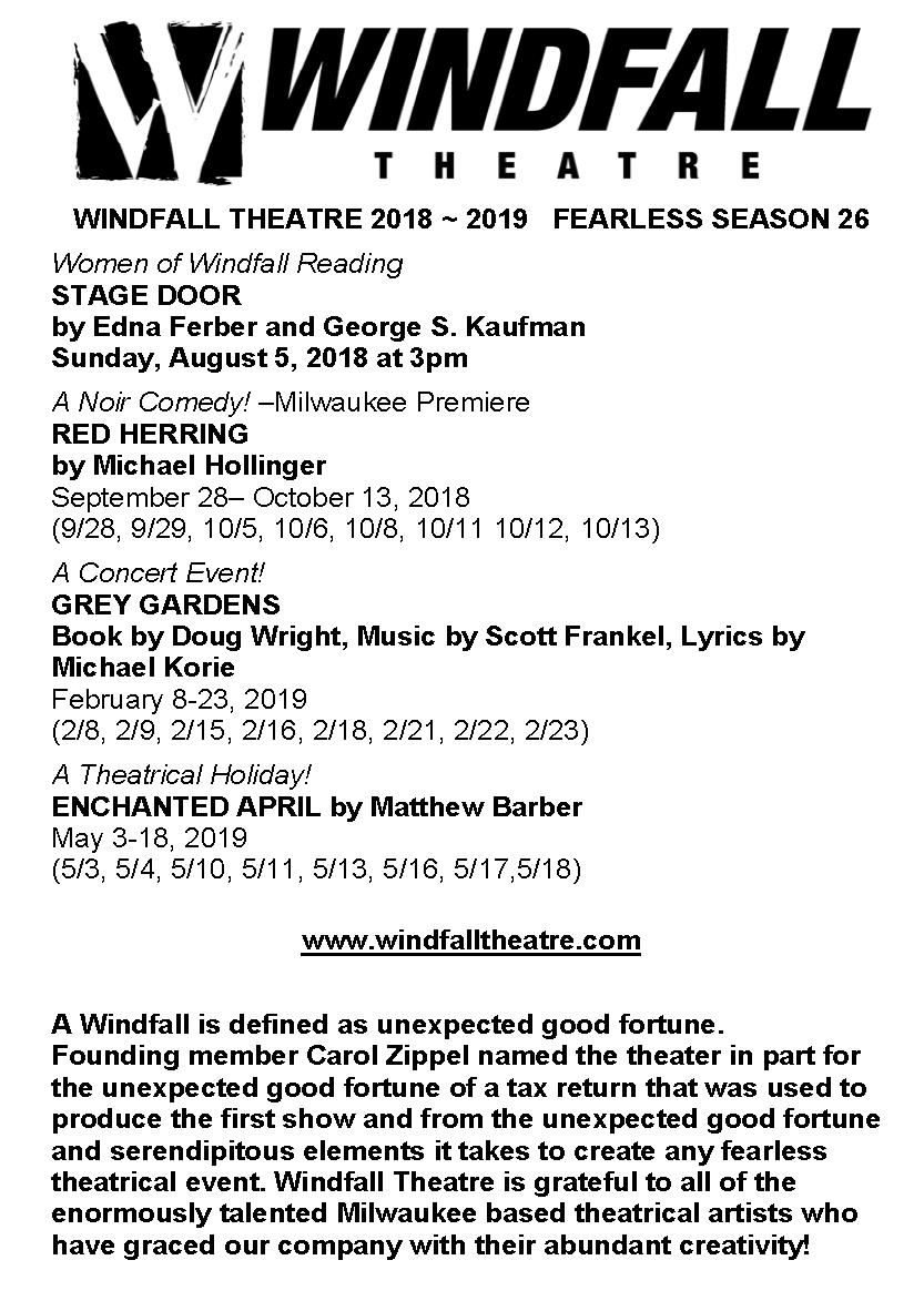 Windfall Theatre: WINDFALL THEATRE SEASON 26 TRIPLE PLAY!