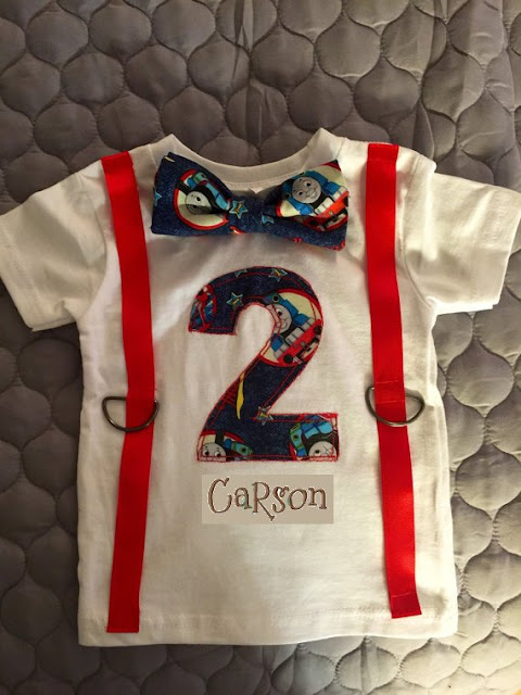 Thomas The Train Birthday Shirt With Custom Applique And Embroidered Name Faux Suspenders Bow Tie