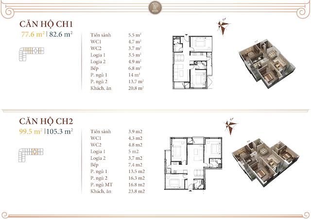 Mặt bằng thiết kế căn 01 và 02