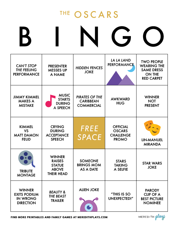 graphic relating to Printable Family Games called Meredith Performs: Printable Oscars Bingo Recreation