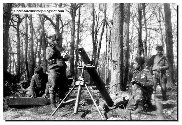 Soviet 11th Guards Army soldiers fire mortars near Pillau