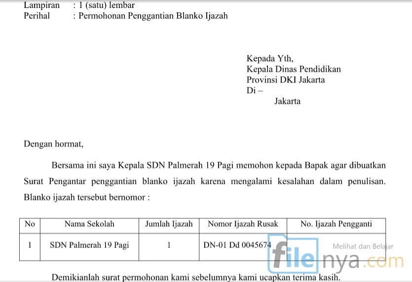 Contoh Penulisan Surat Permohonan Penggantian Blanko Ijazah Filenya
