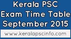 Kerala PSC Exam calendar September 2015