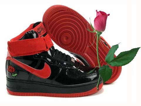Air Force One Mid Black Red Rose Shoes Nike Air Force 1 High