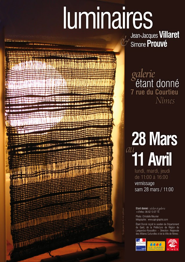 Exposition des luminaires de Simone Prouvé & Jean-Jacques Villaret à etant donné nimes - mars, avril 2015