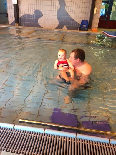 sophia and her daddy swimming