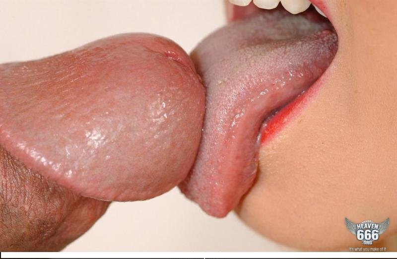 two girls licking tip of cock