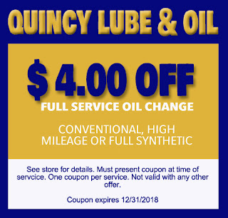 Coupon for an Oil Change at Quincy Lube and Oil, Quincy IL