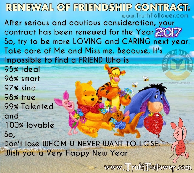 New Year 2017 RENEWAL OF FRIENDSHIP CONTRACT