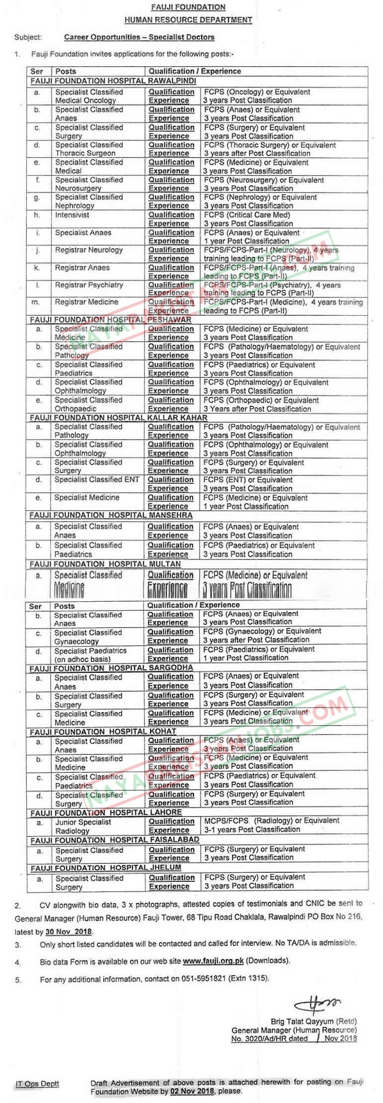 Latest Vacancies Announced in Fauji Foundation Human Resource Department 6 November 2018 - Naya Pakistan