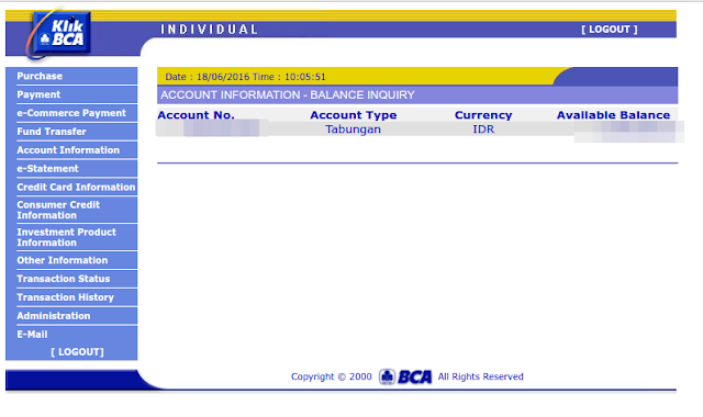 User Interface Internet Banking BCA