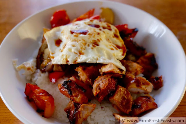 a side view of a fried egg atop grilled chicken, eggplant and peppers over rice