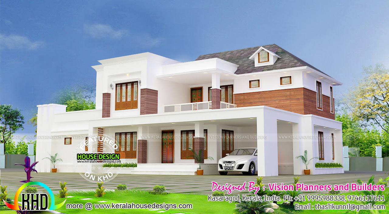 Beautiful modern 5 bedroom home architecture kerala home for Beautiful modern homes