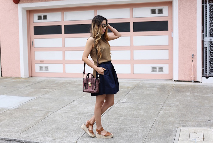 Everlane open knit tank, everlane pleated skirt, sole society sandals, 31phillip lim mini pashli bag, quay sunglasses, san francisco street style, everlane outfit, summer knits, how to