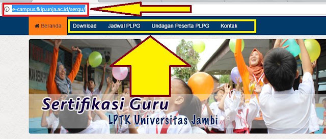 gambar cara cek jadwal peserta PLPG dan Undangan