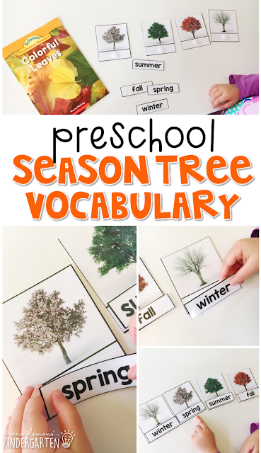 Read about the changes that trees go through during each season. Then practice matching vocabulary words to match each season. Great for tot school, preschool, or even kindergarten!
