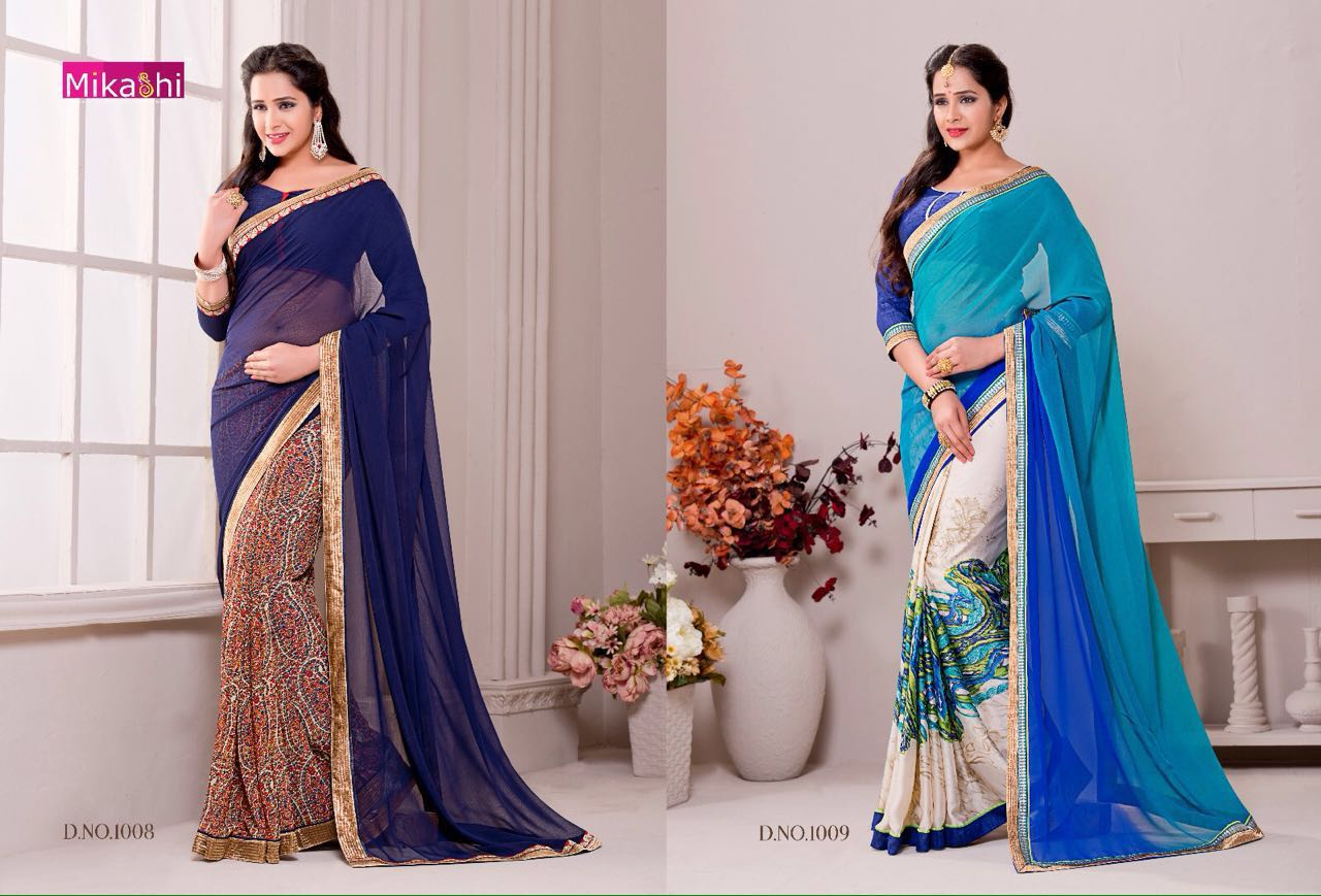 KARTICA-Designer Collecton of Georgette With Bangalori Silk Blouse Sari