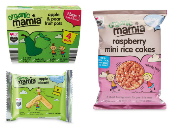 Image of Best Products For Weaning Aldi Mamia Snacks Fruit Pots Apple Biscotti Raspberry Rice Cakes