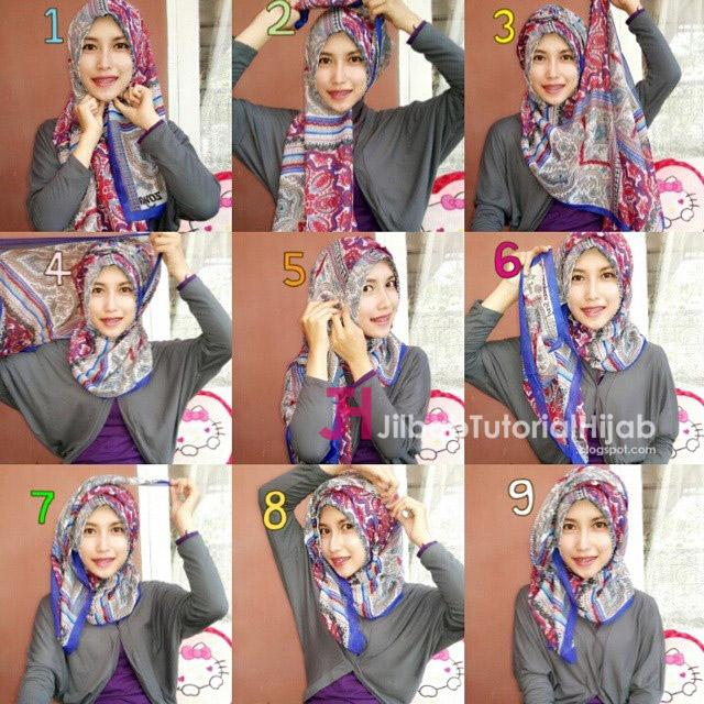tutorial cara memakai hijab modern bermotif lucu terbaru