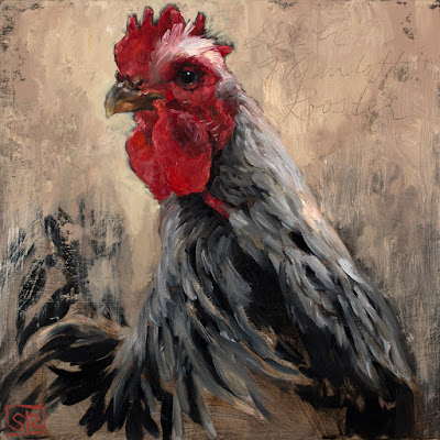 Oil painting of a Silver-laced Wyandotte Rooster, ©Shannon Reynolds