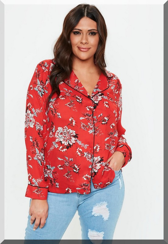 chemisier-rouge-fleurs-pyjama-grandes-tailles-missguided