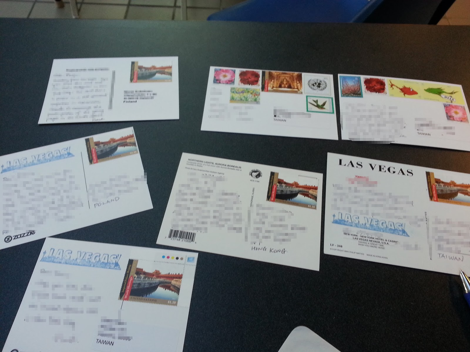 The Postcard Was Put Into An Envelop Along With Six Other Postcards All Affixed United Nations Stamps To Be Sent Headquarter