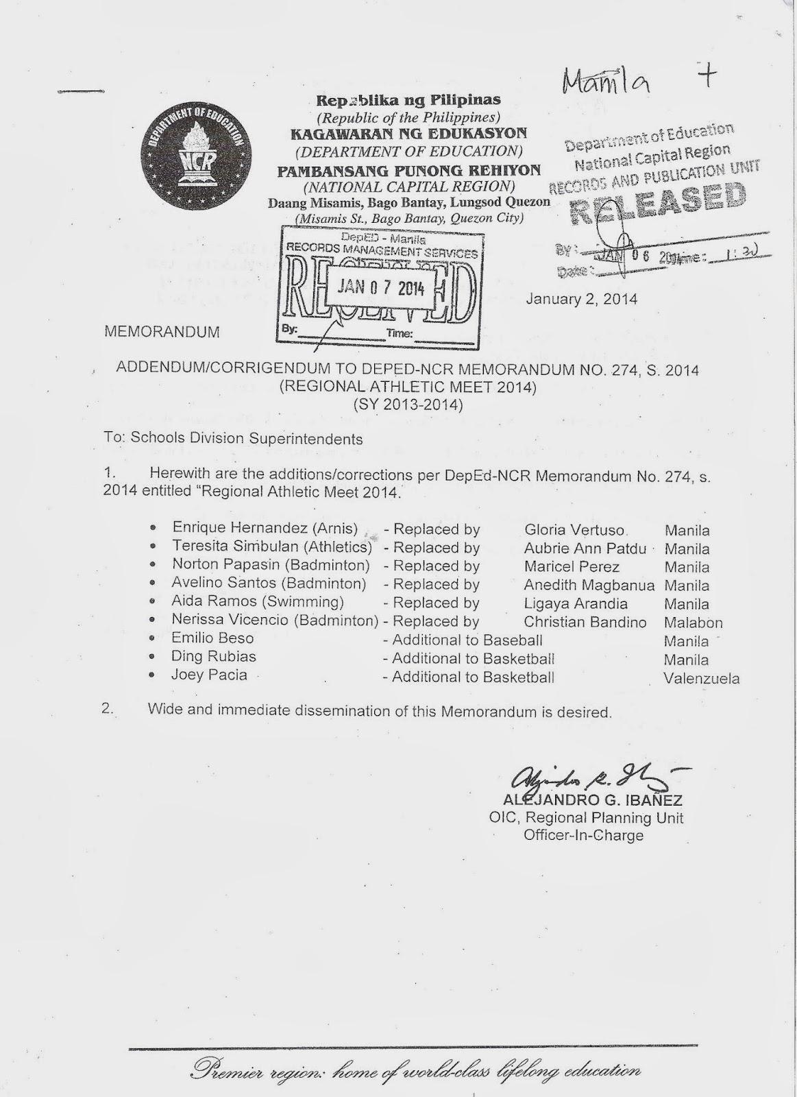 Department of Education Manila: Division Memorandum No. 34