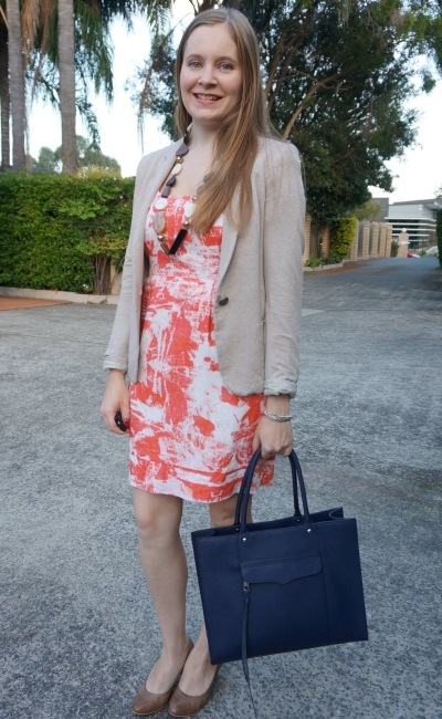 cream blazer, brown heels, statement necklace and orange print sheath dress | away from blue