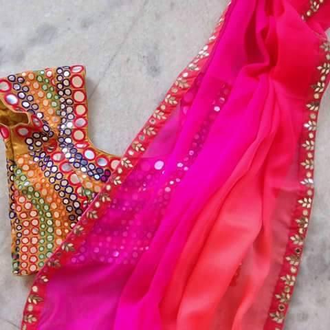 260bab98ad82f5 Chiffon Saree With Heavy Mirror Work designer Blouse