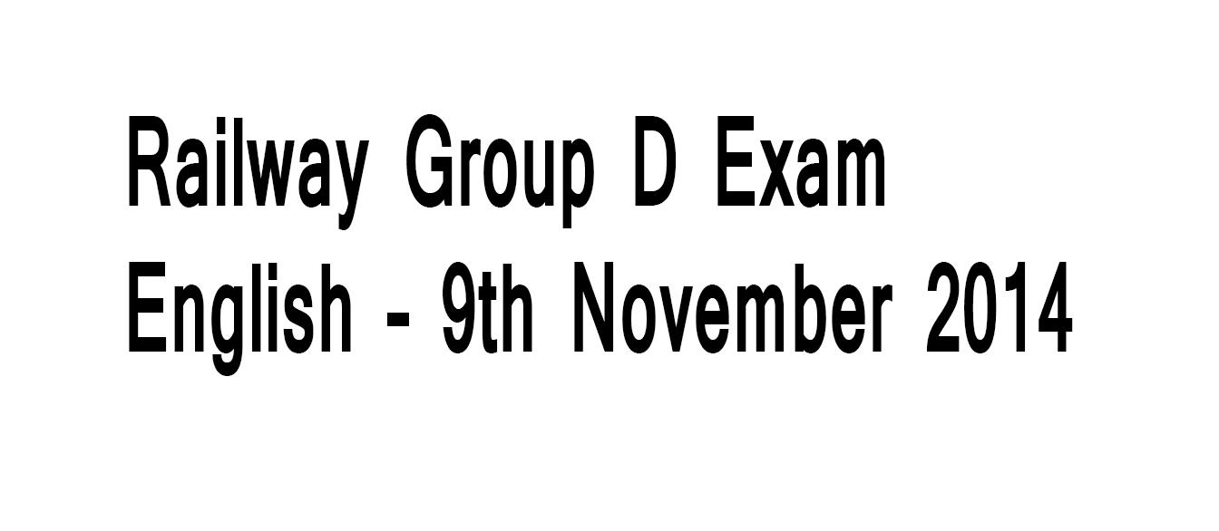 Railway Group D Exam English