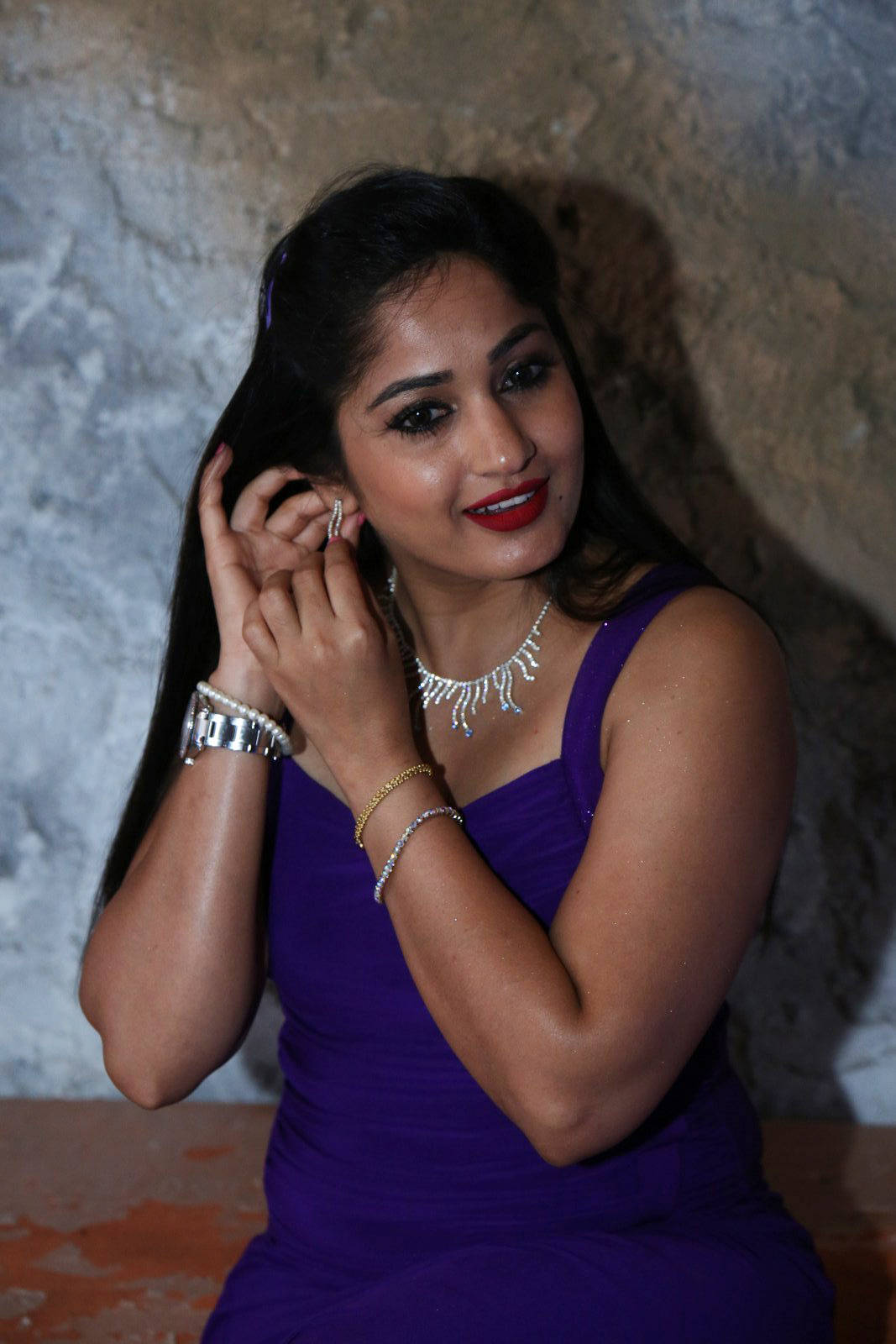 Glamorous Madhavi Latha Hot Photos In Violet Dress