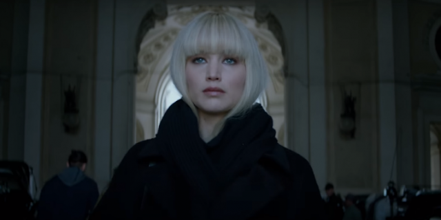 Dominika Egorova (Jennifer Lawrence) dans Red Sparrow, réalisé par Francis Lawrence (2018)