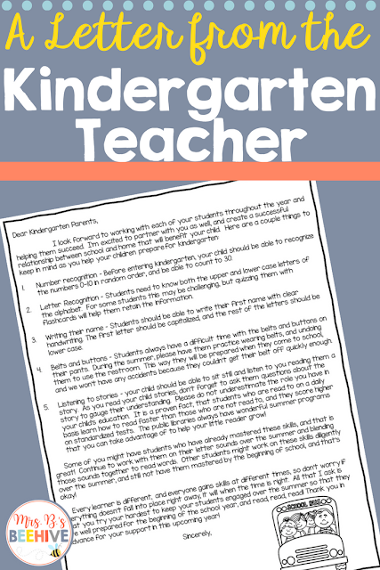Letter to Next Year's Parents - Freebie!