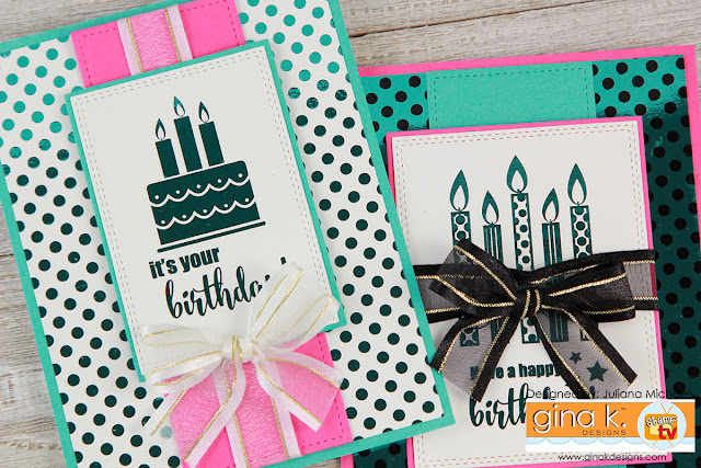 Happy Birthday Card by Juliana Michaels featuring how to use Gina K Designs Fancy Foils scraps and Foil Mates