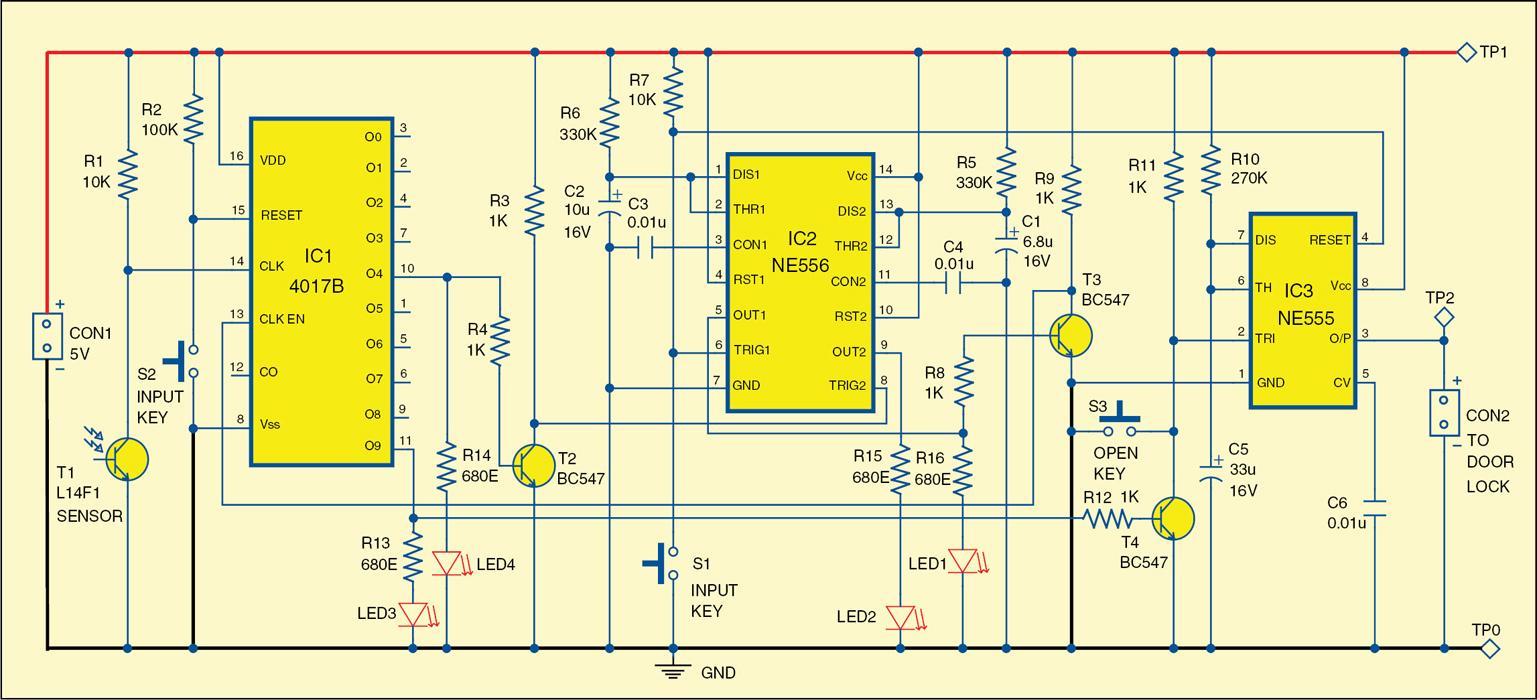 Simple Laser Based Security Lock Circuit Diagram