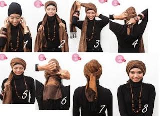 step by step tutorial memakai jilbab modern dengan gambar lengkap