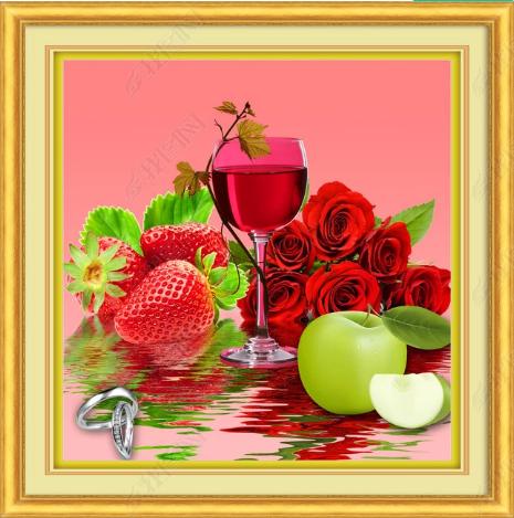 Tranh treo tường phòng bếp nhà hàng rượu dâu tây hoa hồng